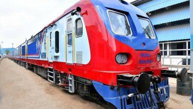 Photo of Nepal Railways' two DEMU train bogies arrived at Janakpur station
